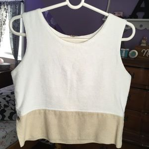 Tops - Cream and White Tank Top